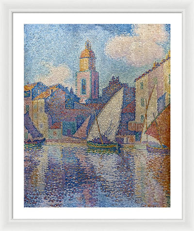 Paul Signac The bell tower of Saint-Tropez Framed Canvas Ready To Hang Classical Art Giclee Wall Art Print Interior Design Museum Quality