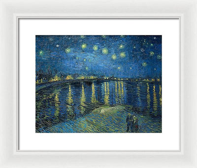 Vincent van Gogh Starry Night Over The Rhone Framed Canvas Ready To Hang Classical Art Giclee Wall Art Print Interior Design Museum Quality