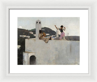 John Singer Sargent Capri Girl on a Rooftop Framed Canvas Ready To Hang Classical Art Giclee Wall Art Print Interior Design Museum Quality