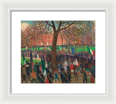 William James Glackens Parade, Washington Square Framed Canvas Ready To Hang Classical Art Giclee Wall Art Print Interior Design Museum Quality