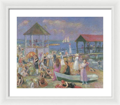 William James Glackens Beach Scene, New London Framed Canvas Ready To Hang Classical Art Giclee Wall Art Print Interior Design Museum Quality