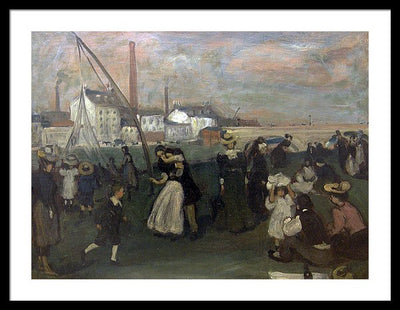 William James Glackens On the Quai Framed Canvas Ready To Hang Classical Art Giclee Wall Art Print Interior Design Museum Quality
