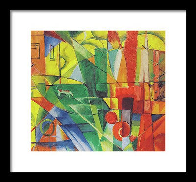 Franz Marc Landschaft mit Haus, Hund und Rind Framed Canvas Ready To Hang Classical Art Giclee Wall Art Print Interior Design Museum Quality