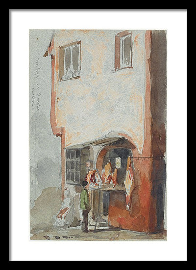 James Abbot McNeil Whistler Boutique de Boucher The Butcher Shop Framed Canvas Ready To Hang Classical Art Giclee Wall Art Print Interior Design Museum Quality