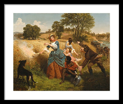 Emanuel Gottlieb Leutze Mrs. Schuyler Burning Her Wheat Fields on the Approach of the British Framed Canvas Ready To Hang Classical Art Giclee Wall Art Print Interior Design Museum Quality
