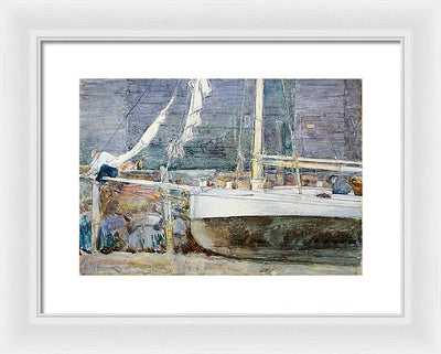 Childe Hassam Drydock, Gloucester Framed Canvas Ready To Hang Classical Art Giclee Wall Art Print Interior Design Museum Quality