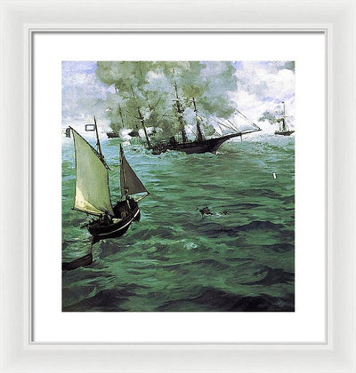 Edouard Manet The Battle of the Kearsarge and the Alabama Framed Canvas Ready To Hang Classical Art Giclee Wall Art Print Interior Design Museum Quality