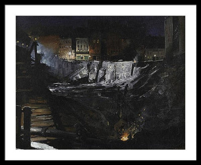 George Wesley Bellows Excavation At Night Framed Canvas Ready To Hang Classical Art Giclee Wall Art Print Interior Design Museum Quality