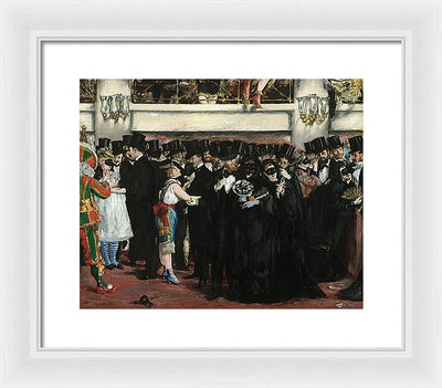 Edouard Manet Masked Ball at the Opera Framed Canvas Ready To Hang Classical Art Giclee Wall Art Print Interior Design Museum Quality