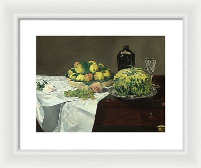 Edouard Manet Still Life with Melon and Peaches Framed Canvas Ready To Hang Classical Art Giclee Wall Art Print Interior Design Museum Quality