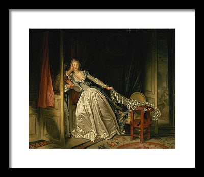 Jean-Honoré Fragonard The Stolen Kiss Framed Canvas Ready To Hang Classical Art Giclee Wall Art Print Interior Design Museum Quality