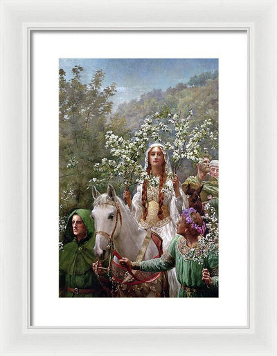 John Collier Queen Guinevre's Maying Framed Canvas Ready To Hang Classical Art Giclee Wall Art Print Interior Design Museum Quality