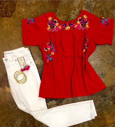 Red embroidered top 29205