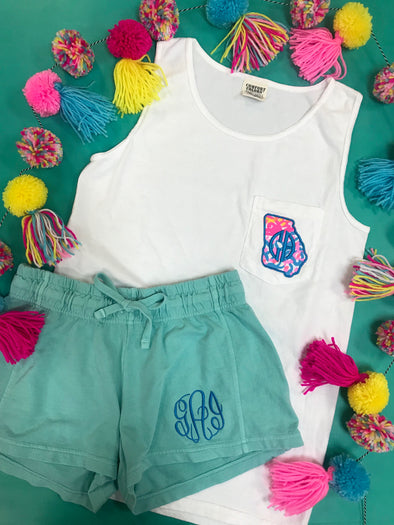 Monogrammed Comfort Colors Tank | White
