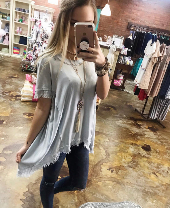 Washed short sleeve top LB29264L