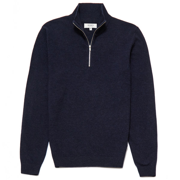 Belgravia Lambswool Blend Zip Neck Jumper in Navy - Nines Collection