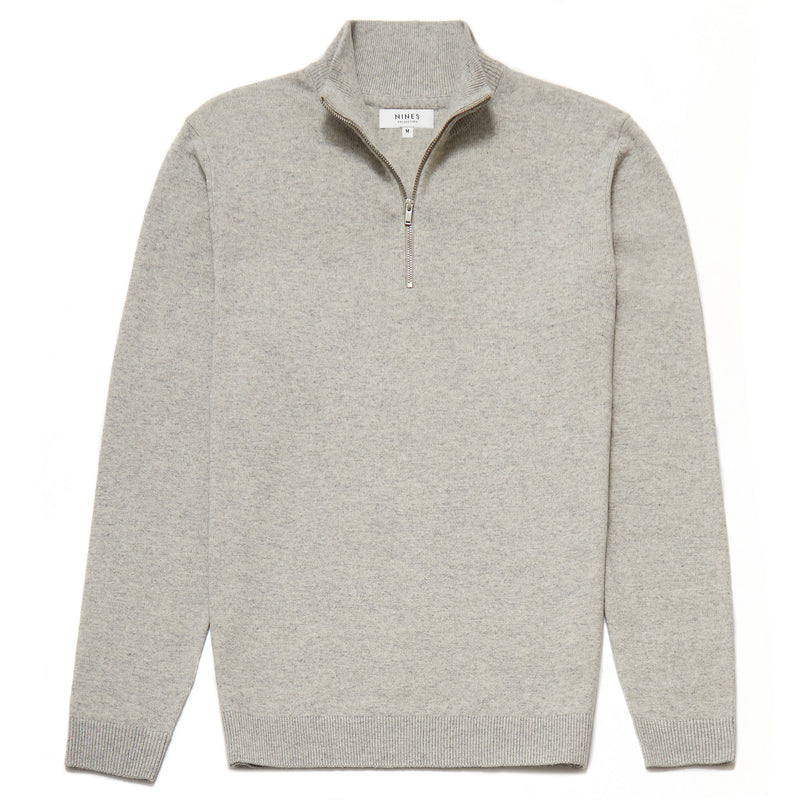 Belgravia Lambswool Blend Zip Neck Jumper in Light Grey - Nines Collection