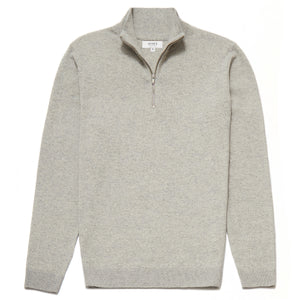 Belgravia Lambswool Blend Zip Neck Jumper in Light Grey