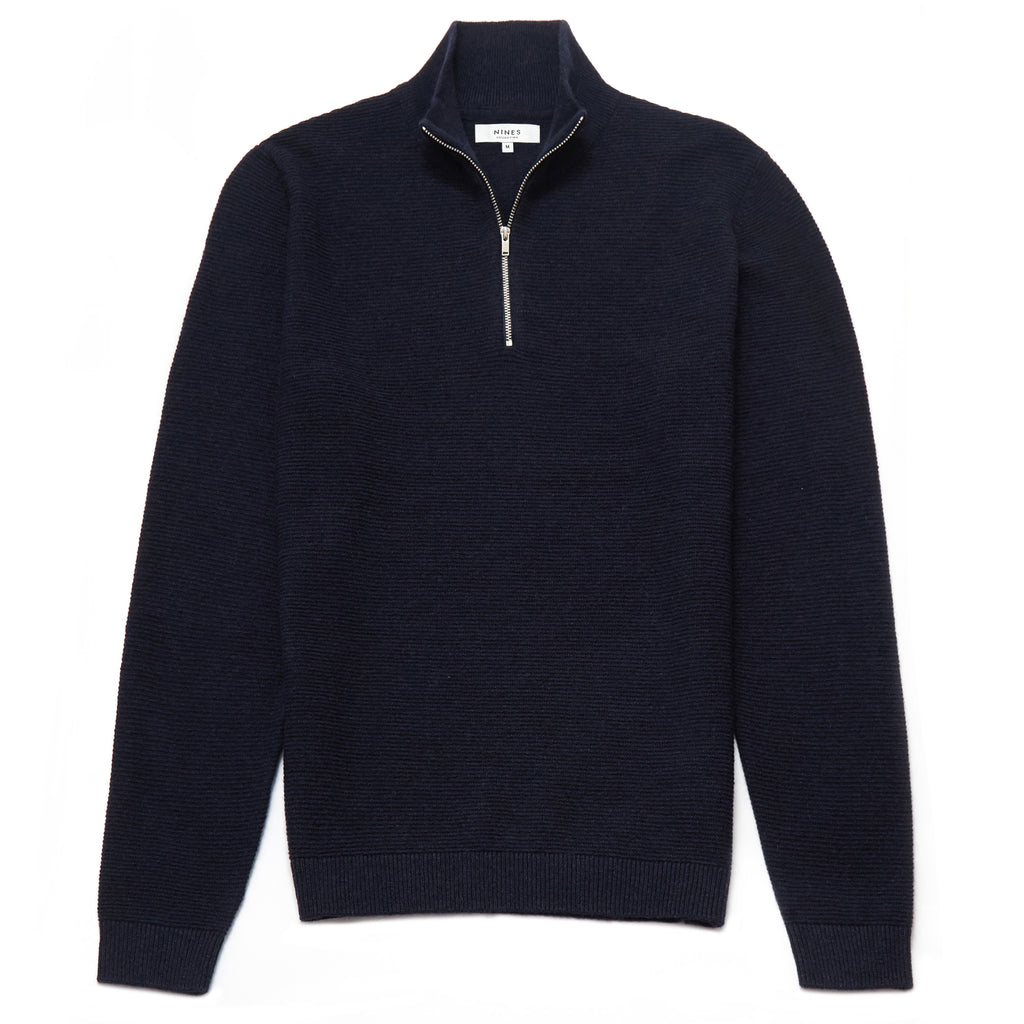Battersea Lambswool Blend Zip Neck Jumper in Navy