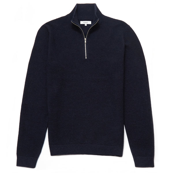 Battersea Lambswool Blend Zip Neck Jumper in Navy - Nines Collection