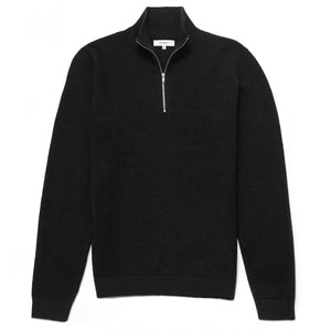 Battersea Lambswool Blend Zip Neck Jumper in Black
