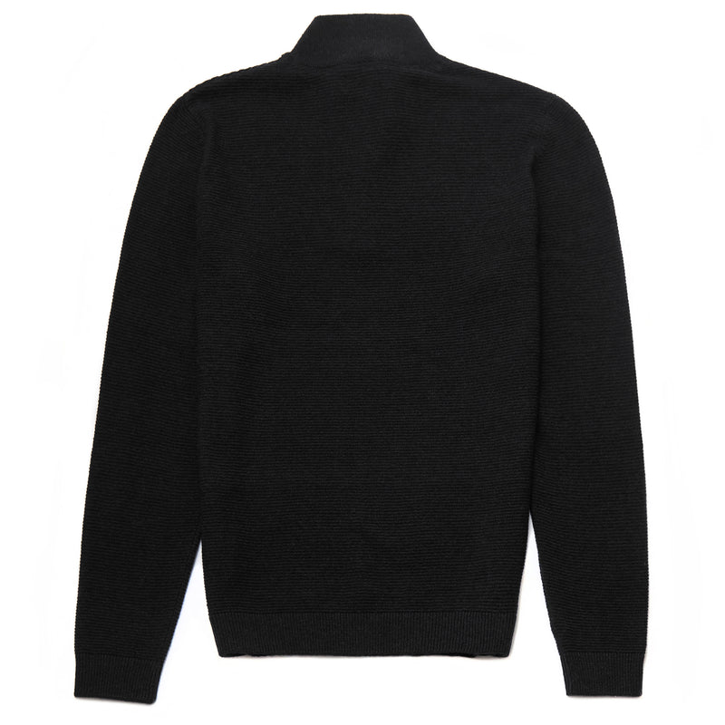 Battersea Lambswool Blend Zip Neck Jumper in Black - Nines Collection