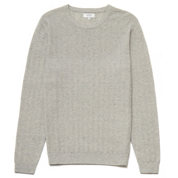Knightsbridge Lambswool Blend Crew Neck Jumper in Light Grey - Nines Collection