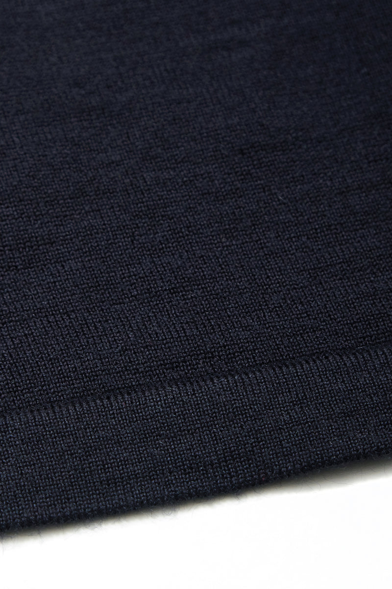 Blenheim Merino Wool Blend Crew Neck Jumper in Navy - Nines Collection