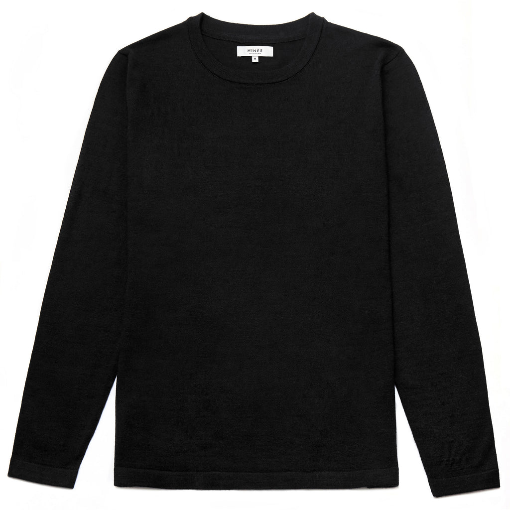 Blenheim Merino Wool Blend Crew Neck Jumper in Black