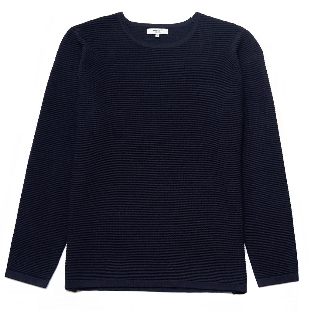 Dunworth Ribbed Crew Neck Jumper in Navy