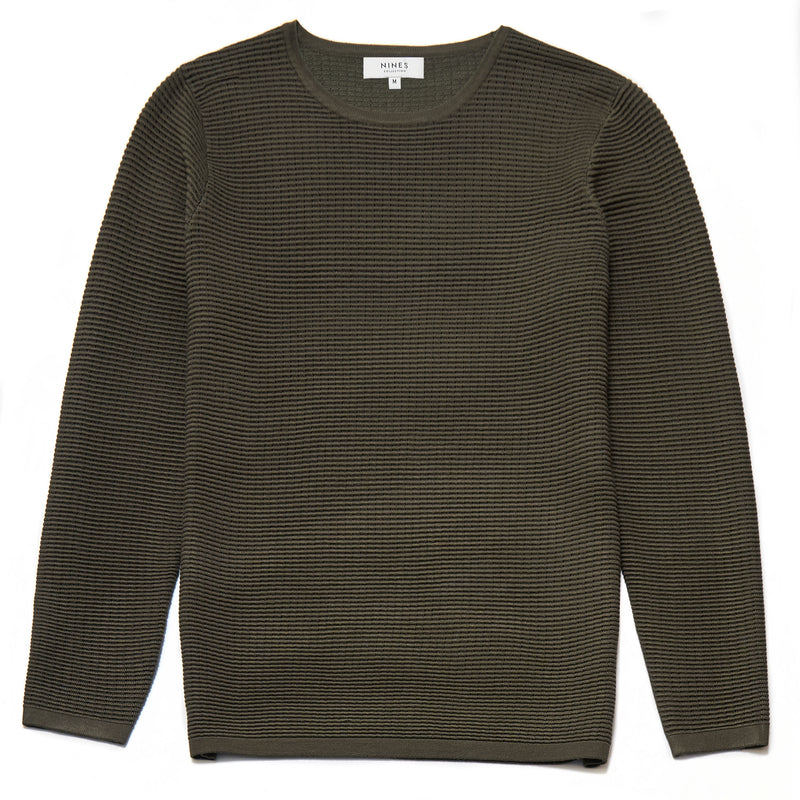 Dunworth Ribbed Crew Neck Jumper in Khaki - Nines Collection