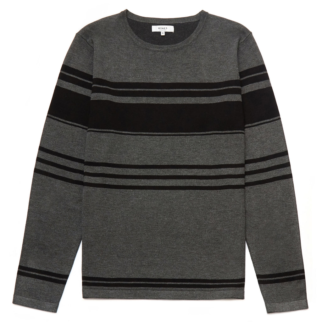 Maxilla Striped Crew Neck Jumper in Charcoal