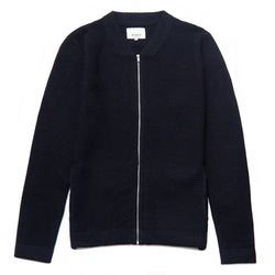 Ligenza Knitted Zip-Through Cardigan in Peacoat - Nines Collection