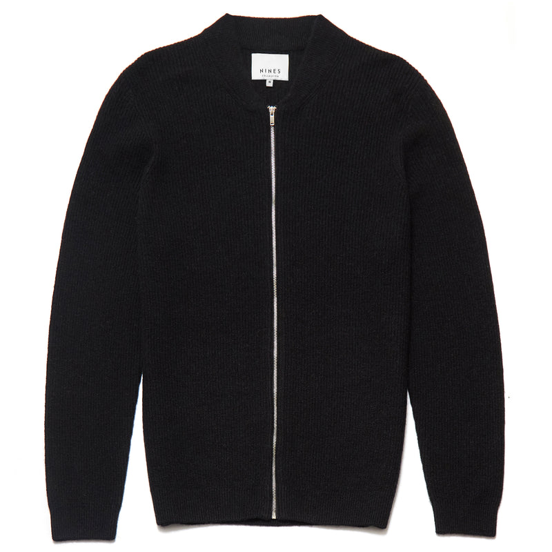 Beauchamp Lambswool Blend Zip Through Cardigan in Black - Nines Collection