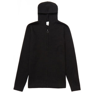 Sunningdale Merino Wool Blend Hooded Cardigan in Black