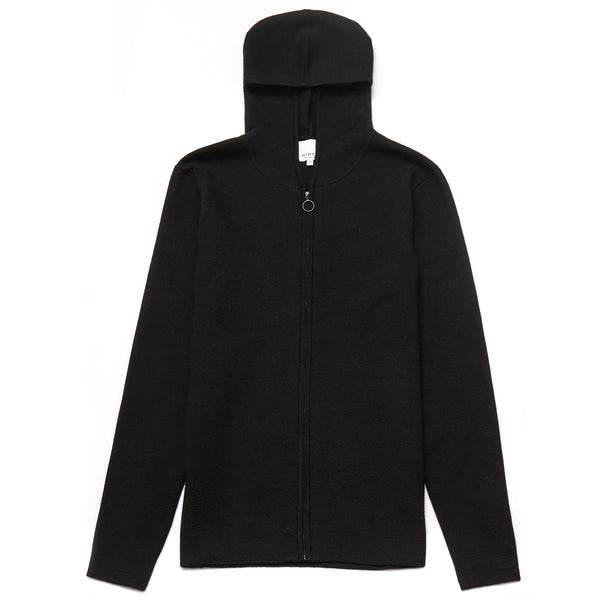 Sunningdale Merino Wool Blend Hooded Cardigan in Black - Nines Collection
