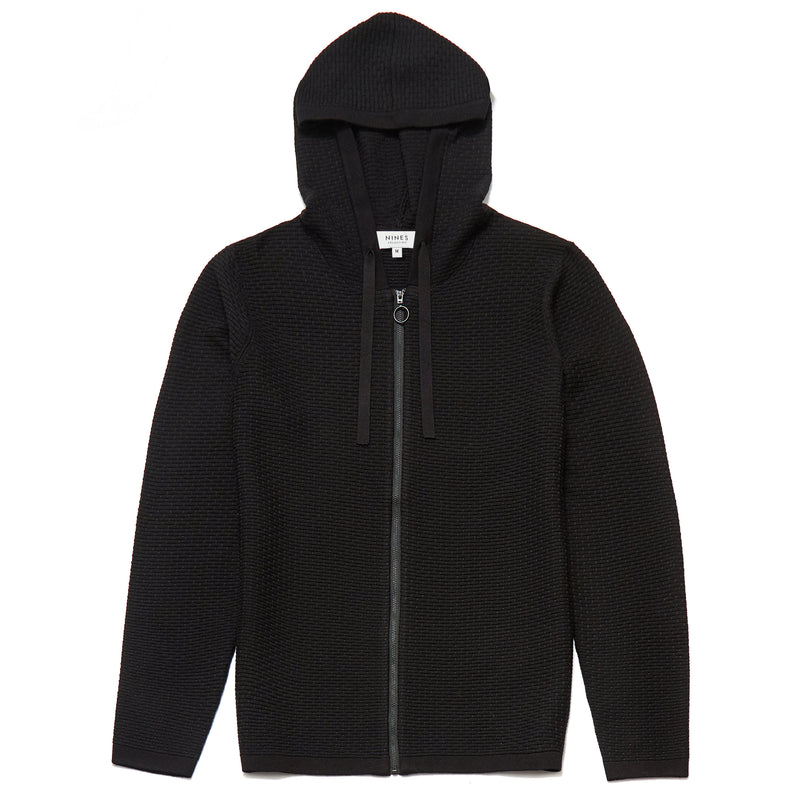 Pavilion Hooded Zip Through Cardigan in Black - Nines Collection
