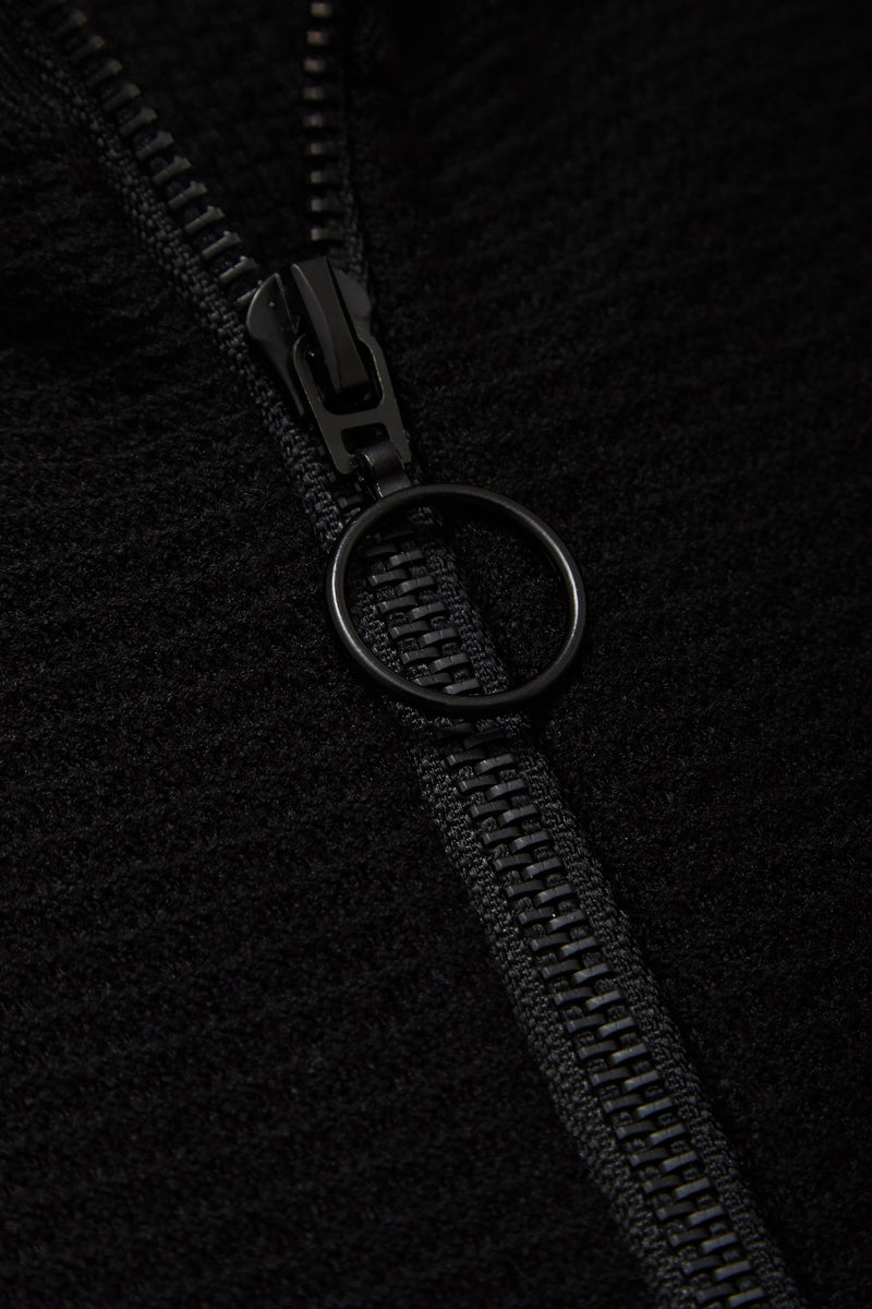 Hesketh Funnel Neck Zip Through Cardigan in Black - Nines Collection