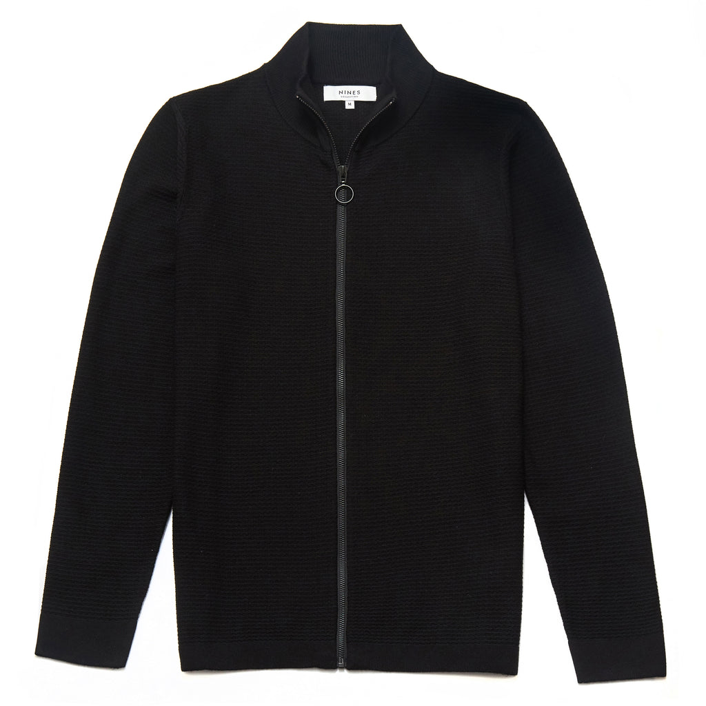 Hesketh Funnel Neck Zip Through Cardigan in Black