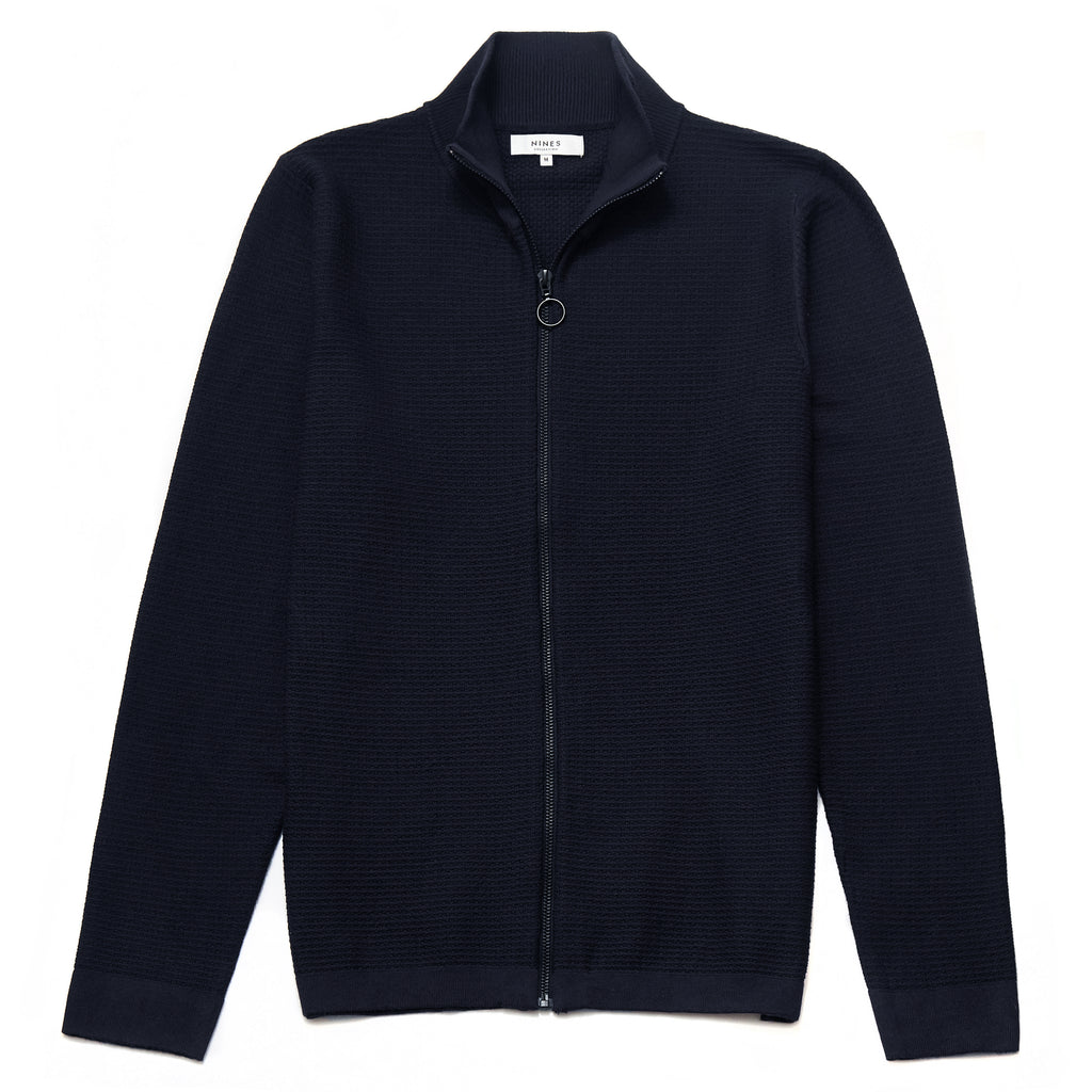Hesketh Funnel Neck Zip Through Cardigan in Navy