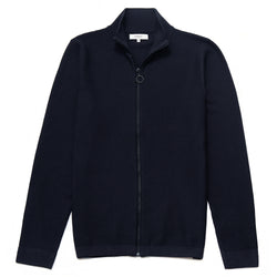 Hesketh Funnel Neck Zip Through Cardigan in Navy - Nines Collection