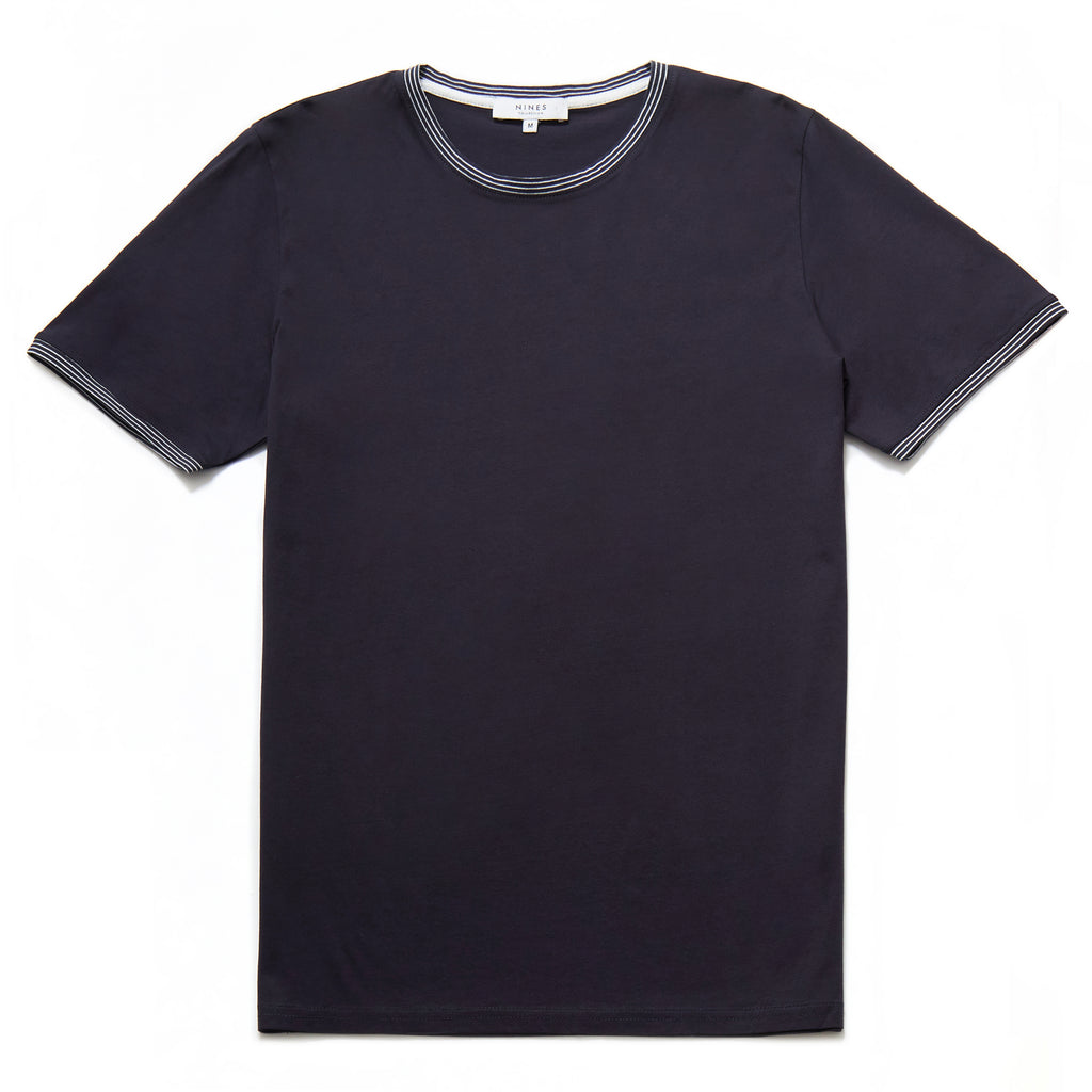 Don Mercerised Stripe Detail Crew Neck T-Shirt in Navy