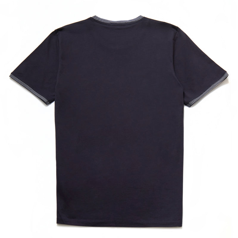 Don Mercerised Stripe Detail Crew Neck T-Shirt in Navy - Nines Collection