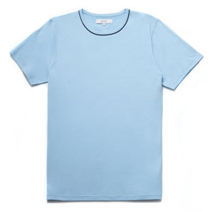 Bandini Contrast Piping Crew Neck T-Shirt in Light Blue