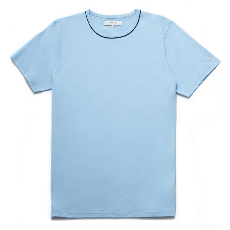 Bandini Contrast Piping Crew Neck T-Shirt in Light Blue - Nines Collection