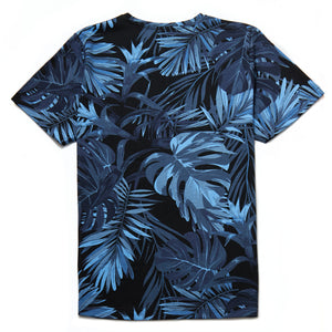 Chiron Palm Print Crew Neck T-Shirt in Indigo - Nines Collection