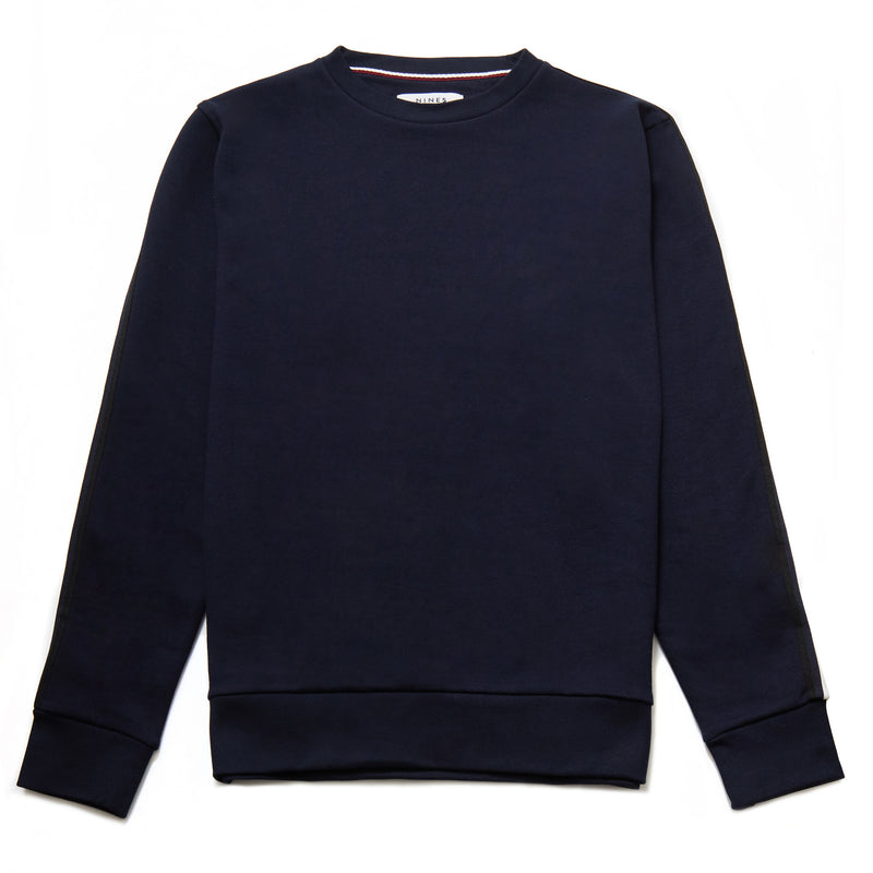 Toshi Crew Neck Tape Sweatshirt in Navy - Nines Collection