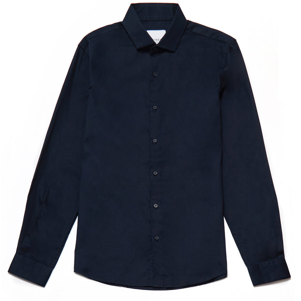 Oliver Slim Fit Satin Finish Shirt in Navy