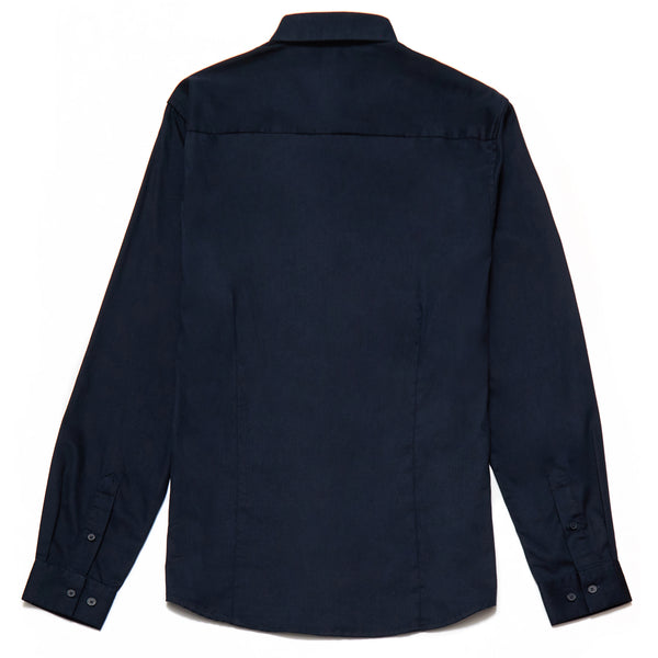 Oliver Slim Fit Satin Finish Shirt in Navy - Nines Collection