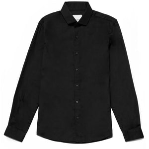 Oliver Slim Fit Satin Finish Shirt in Black